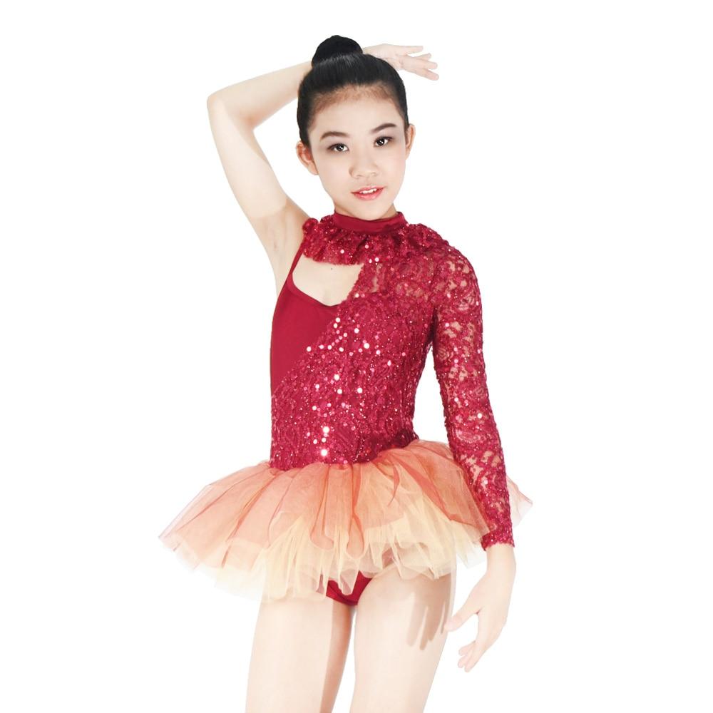 7ddcaeb01f One-Sleeve Teenage Ballet Tutu Dancing Dress Elegant Lace Gymnastics  Skating Performance Costumes