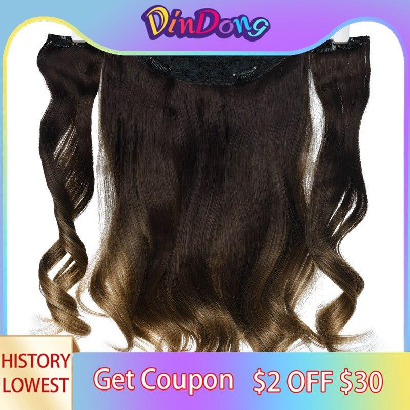 DinDong 18 inch בלתי נראה חוט תוספות שיער סינטטי גלי 3 pieces דגי קו קליפים בתוספות שיער טבעי שיער קליפים