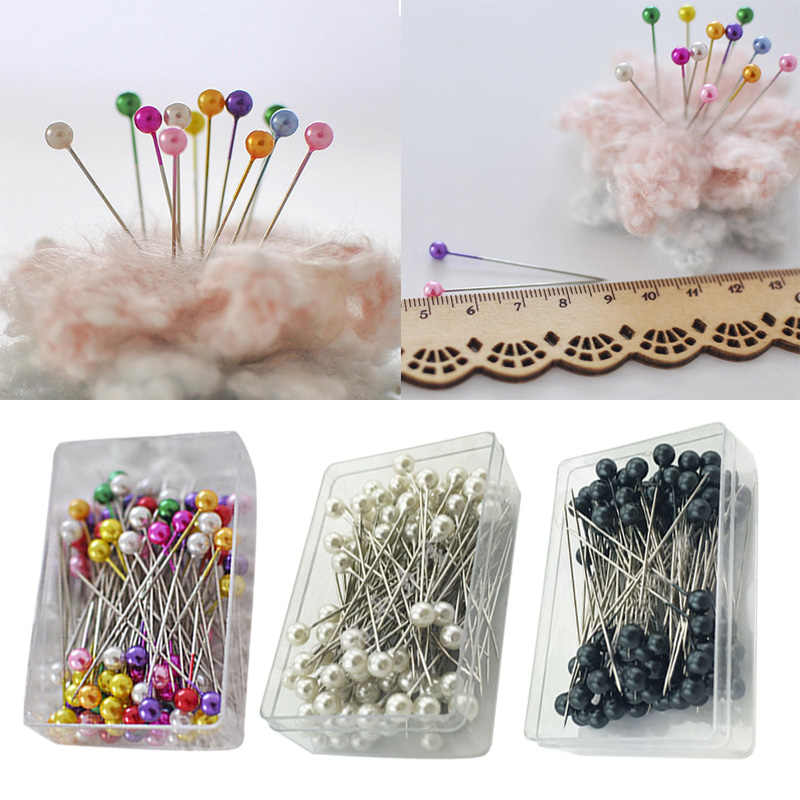 LASPERAL 100Pcs/Set 36mm Pearl Needle Round Head Clothing Pin Sewing Pins Diy Decoration Crafts Pins Needle Sewing Accessories