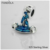 925 Sterling Silver Mouse Blue Scrcerer S Hat Charms Fit Woman DIY Charms Original Bracelets Beads