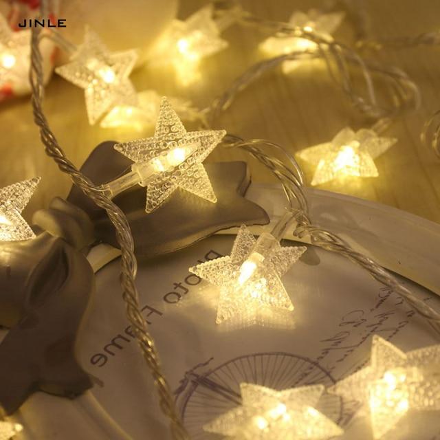 Girlande Navidad Fuhrte Sterne Lampion 2 Mt 20 Kopf Trockenbatterie