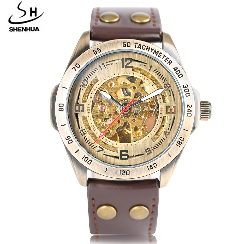 SHENHUA Luxury Mechanic Watch Men Automatic Skeleton Vintage Retro Self-Wind Mechanical Wristwatches Dress Business Watches Gift ks black skeleton gun tone roman hollow mechanical pocket watch men vintage hand wind clock fobs watches long chain gift ksp069