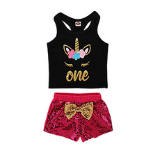 2019 Summer Newborn Baby Girls Clothes Black Tops T-shirt + Sequins Shorts Baby Sets 2PCS/Set Cute Bodysuit Newborn Infantil(China)