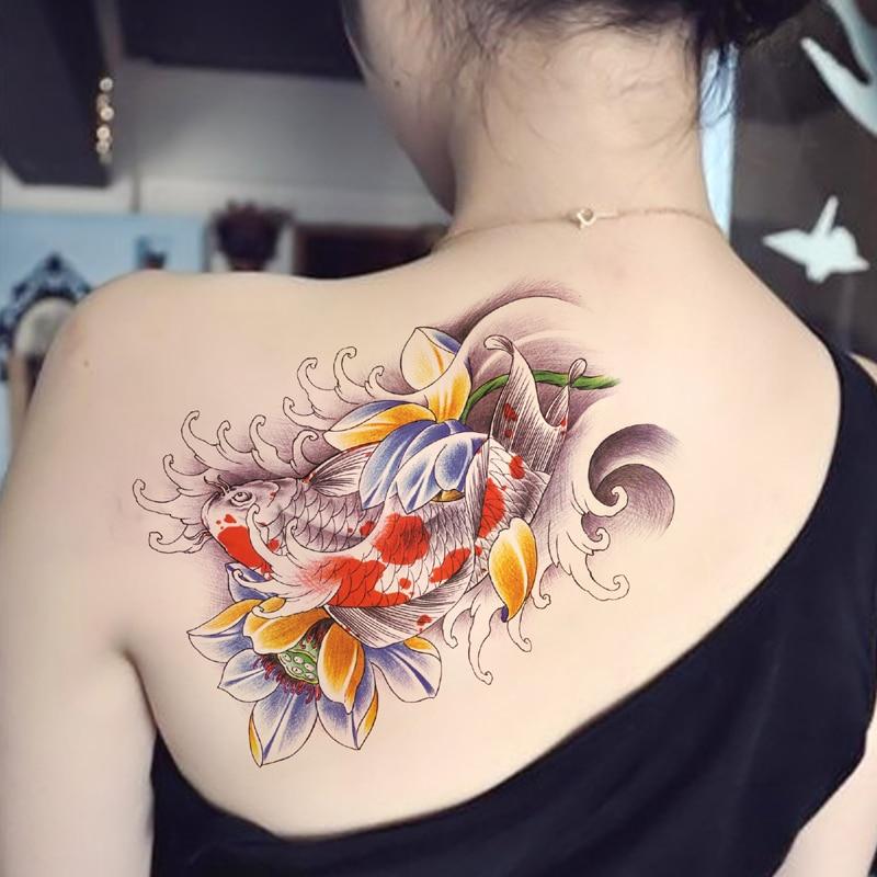 temporary shoulder tattoos sticker colorful carp flower fake transfer spray body makeup. Black Bedroom Furniture Sets. Home Design Ideas