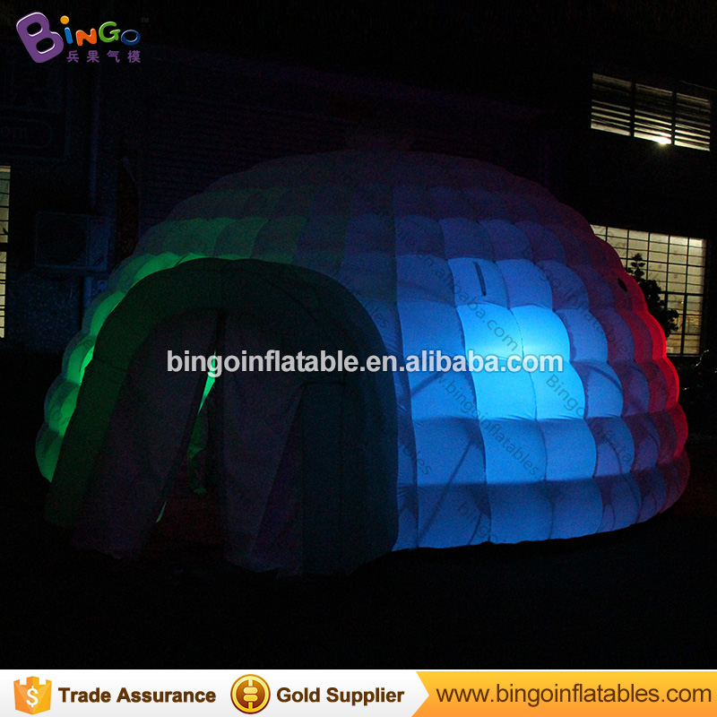 все цены на Free shipping 6X6X3 meters Inflatable yurt dome tent LED lighting all white Blow up tent with blower for event toy tents онлайн