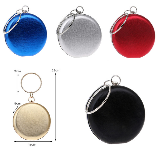 Round Shaped Women Evening Bags Diamonds Simple Red blue silver black gold Mixed Day Clutches Chain Shoulder Bags