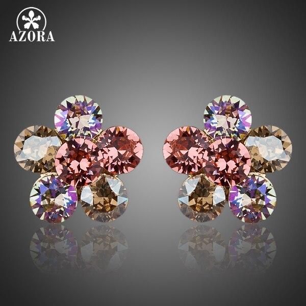 a4c5b6a78814 Azora atractiva girasol oro color stellux austríaco cristal Pendientes de  broche te0034