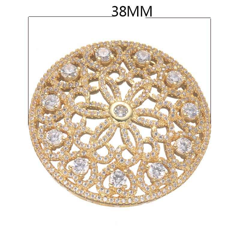 Поставщик ювелирных изделий оптом высокое качество микро проложить Циркон роскошный круглый кулон для жемчуга ожерелье ювелирные изделия Makings части