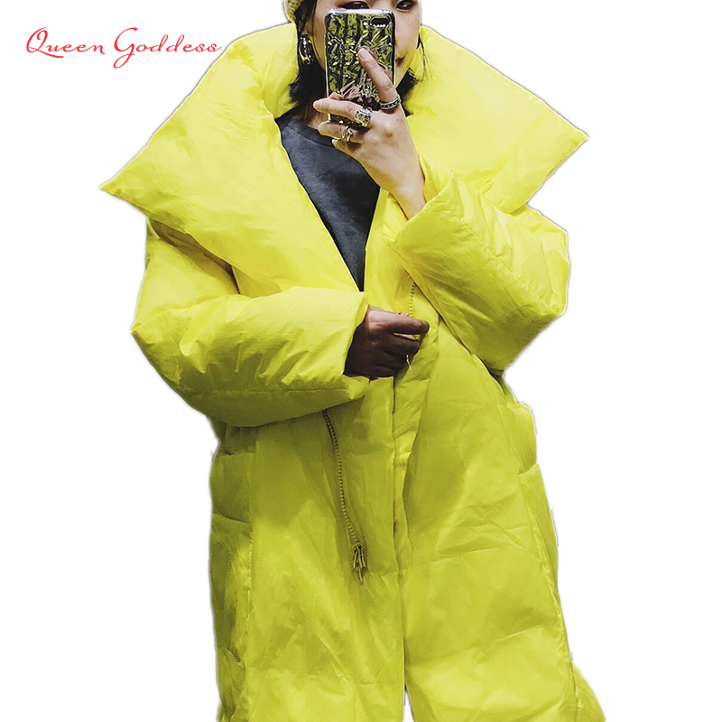 2019 New Fashion Arrival Yellow X-long Parkas Winter Women Long Duck Down Jacket Loose Type Thicken Plus Size Outwear Causal