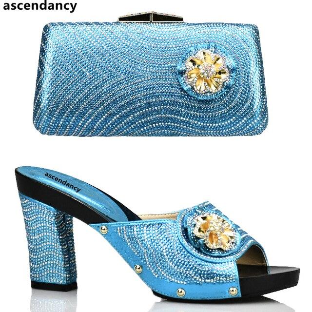 8c25d2faa Cor azul Senhoras Italiano Sapatos e Bolsa Conjunto Decorado com Strass Sapatos  Combinando e Saco Conjunto