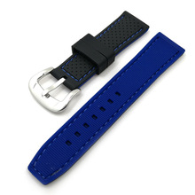 цена на Nato strap sports waterproof watch accessories car line double-color silicone watch strap 2018