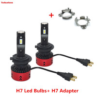 Pair 55W Canbus H7 LED Headlight Bulb Auto Headlamp + 2 PCS H7 Holder Adapter For Benz Audi BMW Z4 X5 VW Jetta New Bora Sagitar
