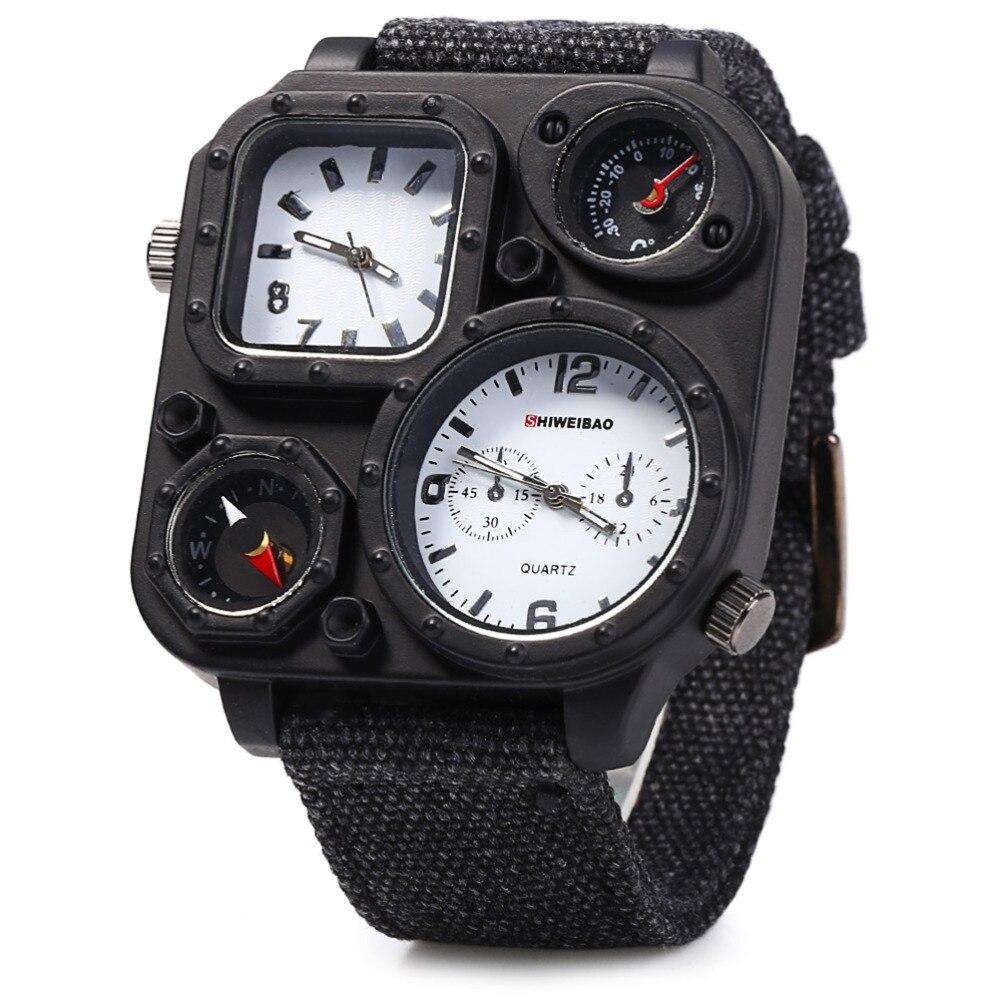 Oulm 3594 Men Big dial Dual-movt Sport Quartz Watch Men Military Compass Leather Wristwatches Relogio Masculino Переносные часы