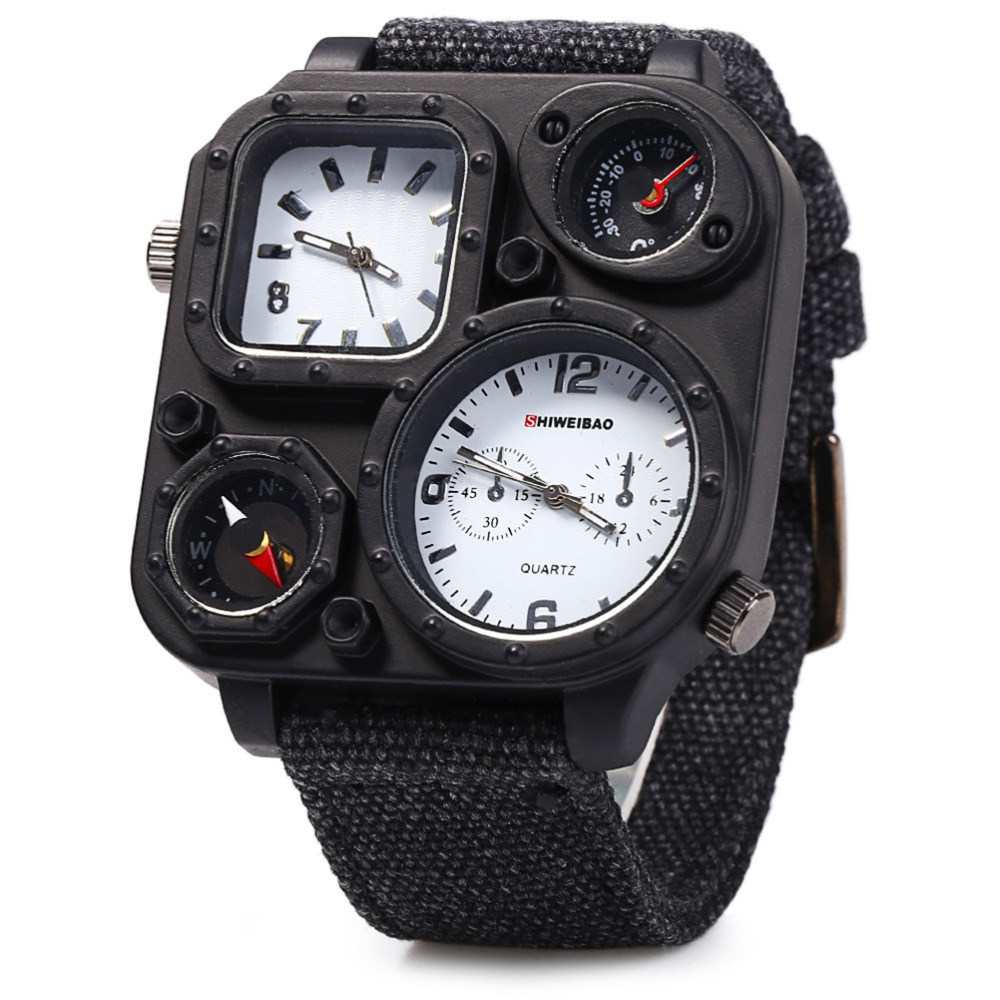 Brand SHIWEIBAO Men Big Dial Dual-Movement Sport Quartz Watch Men Military Compass Canvas Wristwatches Relogio Masculino