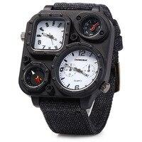 Brand SHIWEIBAO Men Big Dial Dual-Movement Sport Quartz Watch Men Military Compass Canvas Wristwatches Relogio Masculino
