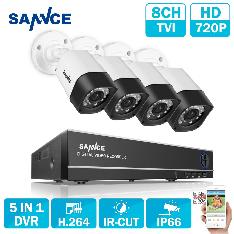 Sannce 8CH AHD 5 в 1 безопасности DVR Системы HDMI 1280*720 1200TVL AHD всепогодный Открытый CCTV Камера 1.0MP AHD комплект видеонаблюдения