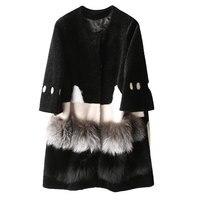 Real Fur Coat 2018 Winter Coat Women Wool Jacket Fox Fur Coats Lambswool Coat Black Long Korean Women Tops abrigo mujer ZT319