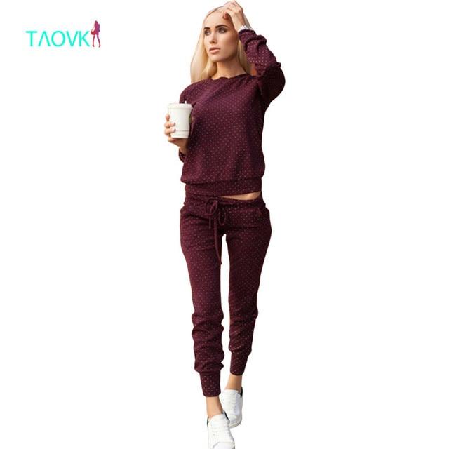 Taovk новые модные российские стиль спортивный костюм для Для женщин костюмы 2 шт Наборы для ухода за кожей в горошек печати Для женщин спортивные костюмы