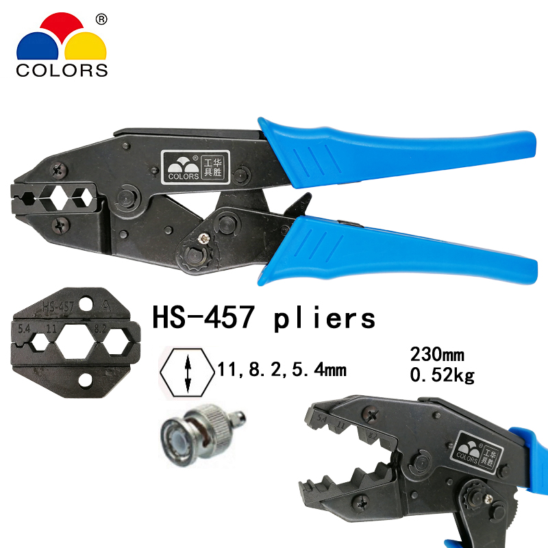 5,4mm Koaxial Crimper Sma/bnc Anschlüsse Carbon Stahl Ratsche Crimpen Werkzeuge Fortgeschrittene Technologie üBernehmen 8,5 Farben Hs-457 Koaxial Crimpen Zangen 11