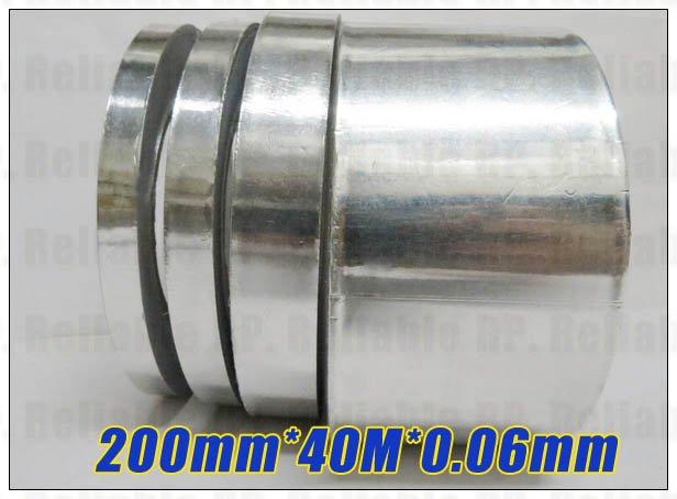 1x20 см, 200 мм* 40 м* 0,06 мм Односторонний Клей Алюминиевая фольга лента для ноутбука EMI экранирование, теплоизоляция, дымовое уплотнение