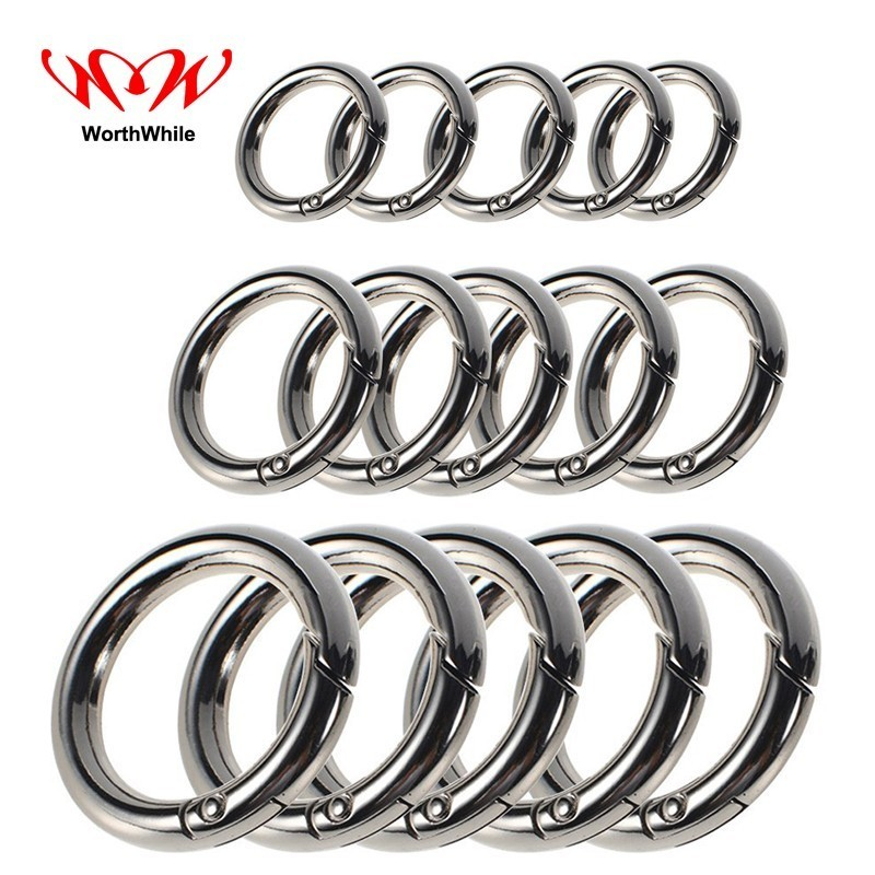 WorthWhile 5 Pieces/lot Camping Hiking O Shape Ring Outdoor Tools Zinc Alloy EDC Buckles Clips Carabiner Round Trigger Hooks