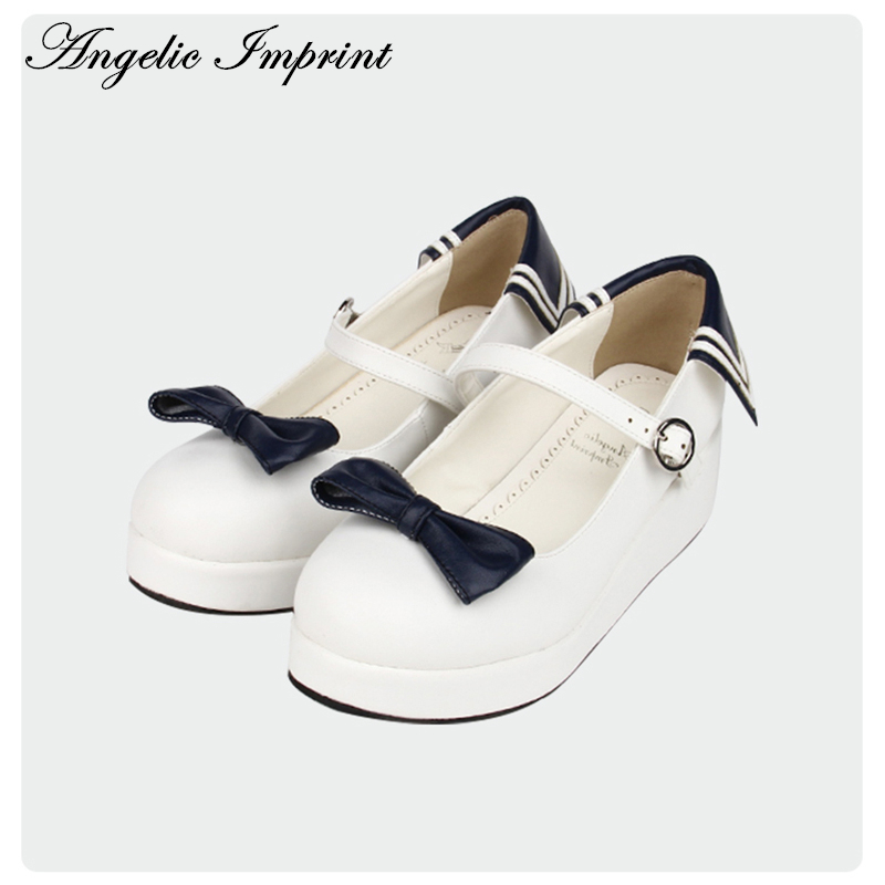 Custom Made Japanese Sailor Lolita Platform Shoes PU Leather Round Toe Mary Jane Shoes
