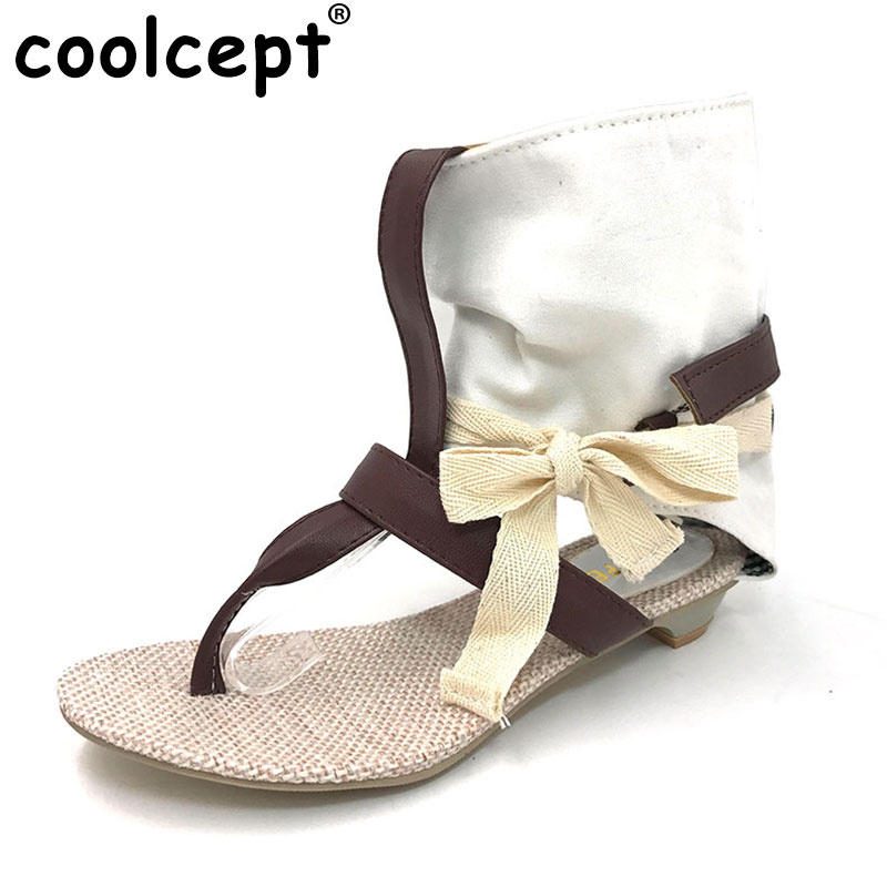Coolcept Women Summer Hot Flat Sandals High Ladies Slippers Heel Shoes Sexy Female Shoes Women's Fashion Sandals Size 34-43 xiuningyan horsehair sandals women flat heel sandals fashion summer low heel shoes woman sandals summer plus size free shipping