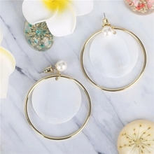 Trendy Ladies Faux Pearl Statement Circle Earrings for Women Environmental protection Copper Earrings women's earrings 2019