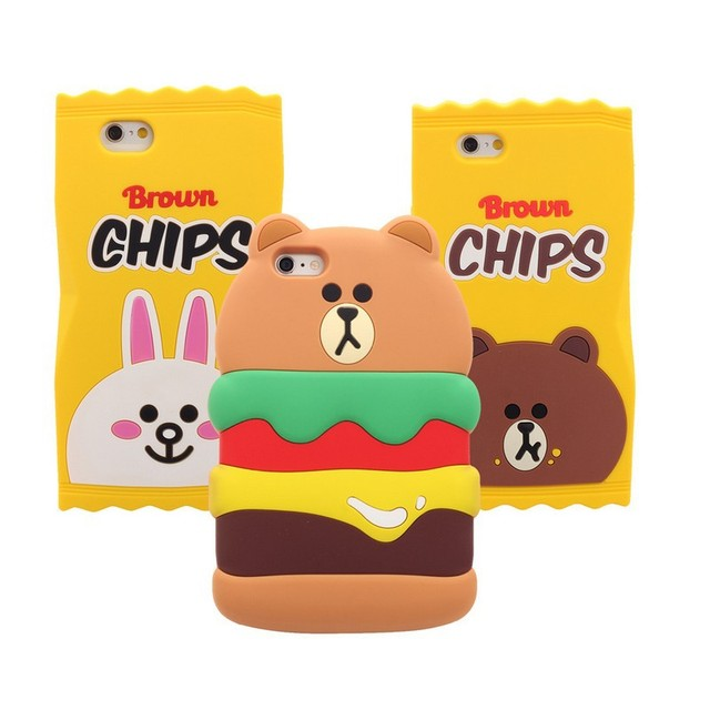 new style efe4c 3c2ad US $5.8 |3D Kid Silicone Line Friend Bunny hamburger Bear Case cover for  iphone 6 plus 6S plus 1pc on Aliexpress.com | Alibaba Group