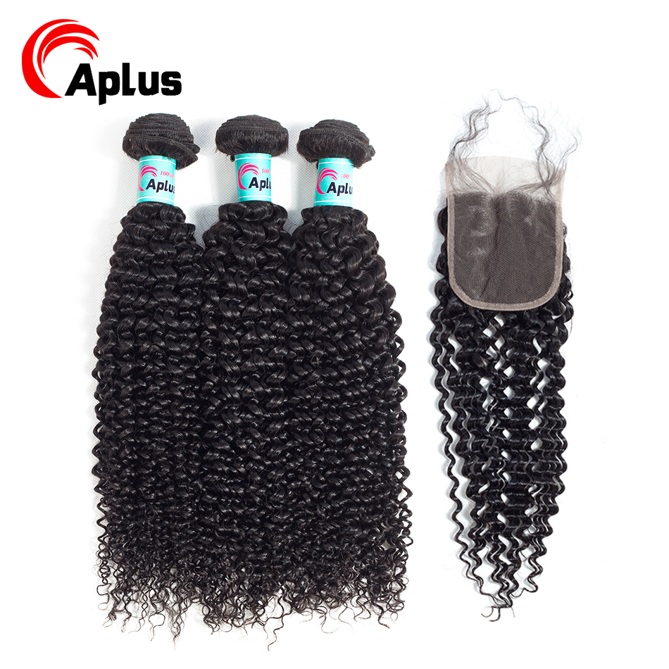 Aplus Hair Mongolian Kinky Curly Hair 3 Bundles With Closure With Baby Hair 4Pcs/lot 100%Human Hair Bundles With Closure Nonremy