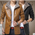 New Men Leather Jacket Fur Stand Collar PU Motorcycle Jaqueta Masculinas Inverno Couro Jacket Men Wadded fashion Casual Parka