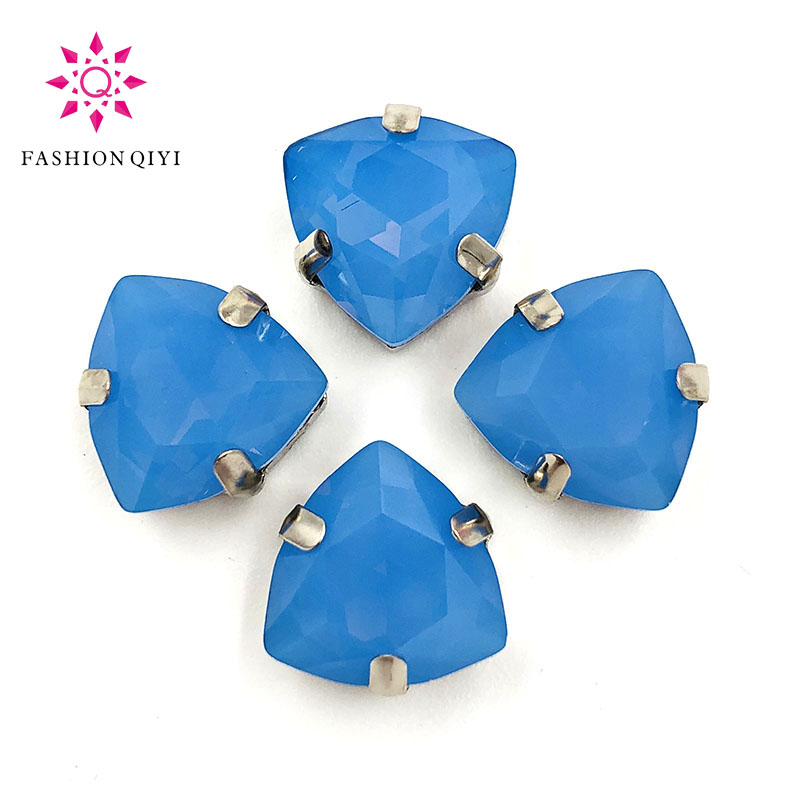 12mm 20pcs/bag Fat triangle shape Crystal Protein blue High quality Glass Crystal sew on rhinestones diy/clothing accessories
