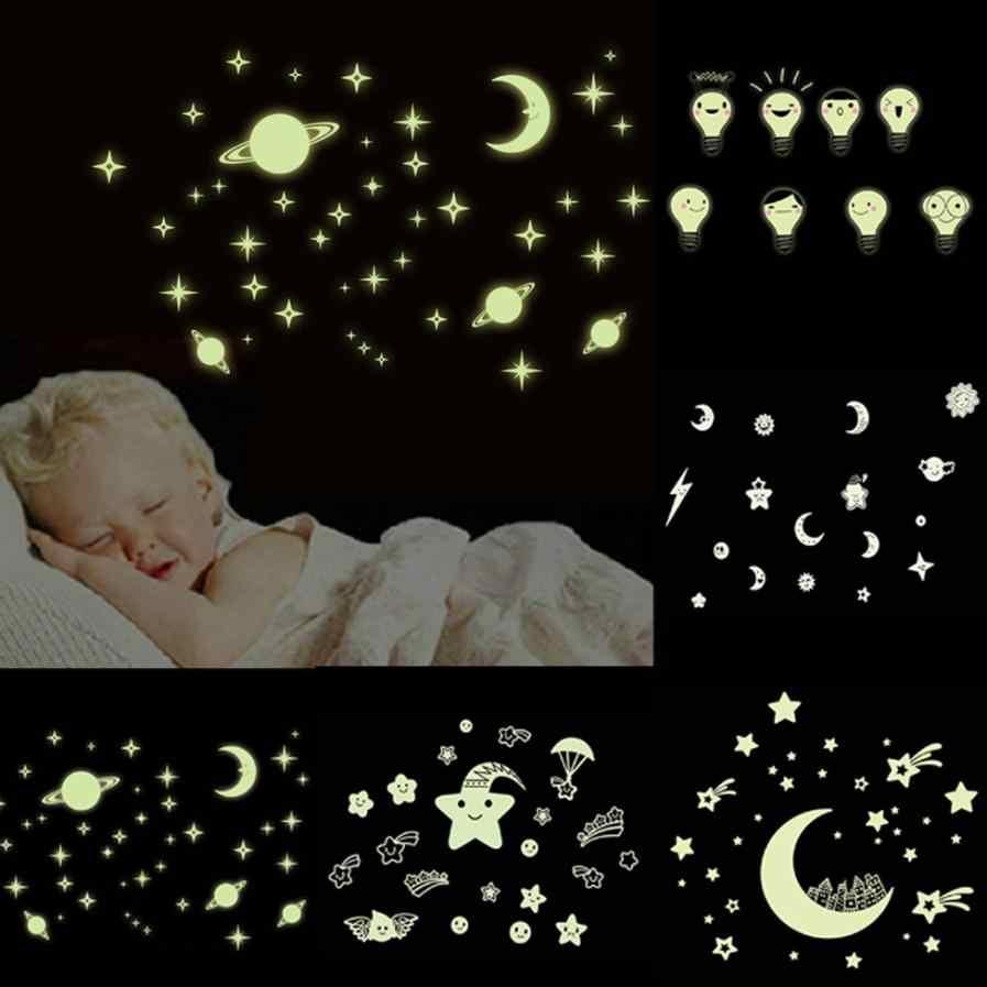 Светящиеся наклейки Звезды Луна переводная картинка наклейки детская комната украшения фон Сделай Сам наклейки на стену #15