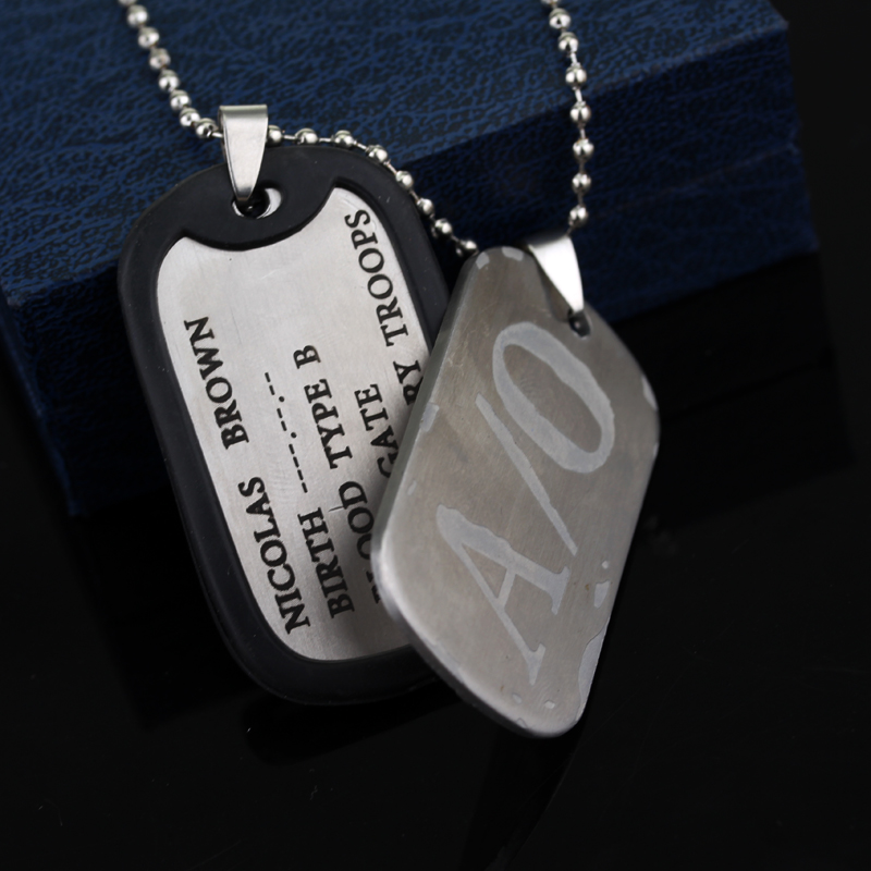 MQCHUN New <font><b>Gangsta</b></font> A/0 Dog Tag Nicolas Brown Mercenary Necklace Pendant <font><b>Gangsta</b></font> Cosplay Titanium Steel Chain Necklace-30 image