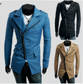 Casaco de sarja de venda de algodão Formal de 2014 primavera trincheira magro oblíqua Zipper masculino Outerwear personalidade homens de roupas