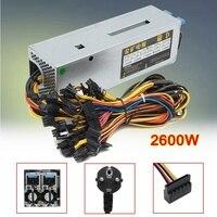 EU Plug 12 GPU Mining Power Supply 24pin 2600W 12V 220A Miner Rig For Eth Ethereum