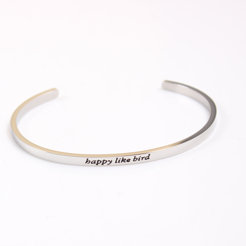 Moving mountains Stainless Steel Positive Inspirational Quote fashion Cuff Bracelet Mantra Bangle For women Gift in Bangles from Jewelry Accessories