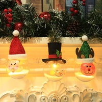 Christmas Tree Hanging Decor Foam Particles Ball Snowman Santa Claus Elk Pendant Ornament Beautiful Luminous Light Ball 3Pcs/Set