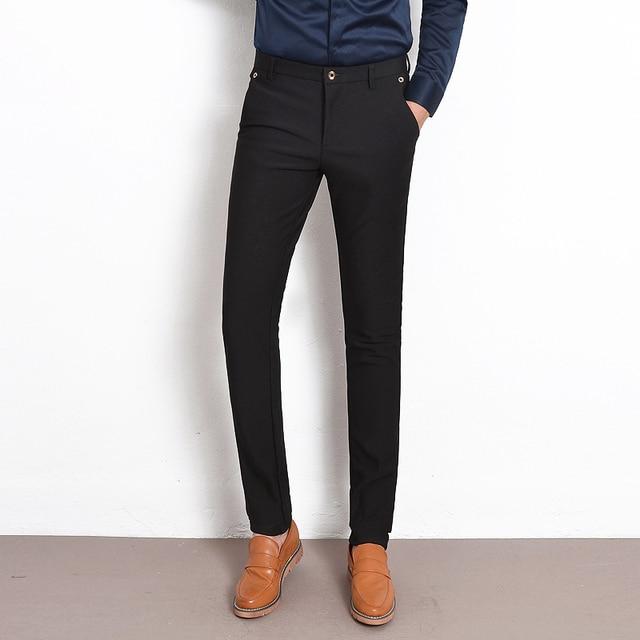 Luxury Brand Casual Pants Men Black Straight Slim Fit Formal