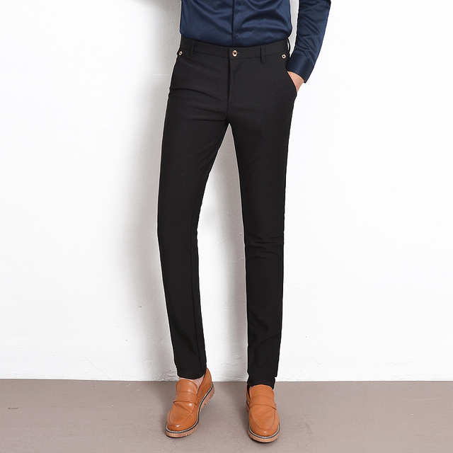 New 2016 Autumn Winter Style Black Stretch Men Suit Pants Dress Slim Fit Straight Mens Casual Pants Brand Business Male Trousers