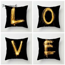 Fuwatacchi Letter Black Gold Style Cushion Cover English Alphabet Printed Pillow Festival Decorative Pillows For Sofa Car