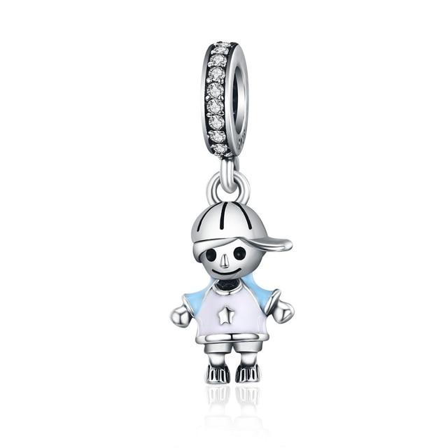 BAMOER 2018 новое 100% Серебро 925 пробы пара маленькая девочка и подвеска для мальчика Шарм fit девушке подвески ювелирный браслет сделай сам SCC544