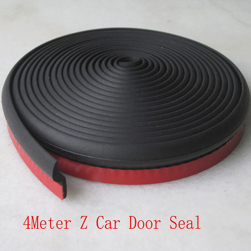 Z type Seal Strip 4 Meter Auto Car Rubber Seal Trim Adhesive High Density Car Door Sound Insulation Sealing Strips
