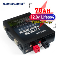 12v 70Ah LiFePo4 battery Portable outdoor emergency power supply with dual USB port car cigarette lighter +5A EU/US charger