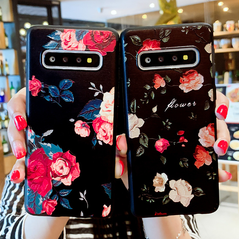 Cases For Samsung Galaxy S10 Case Relief Matte Floral Phone Cases For Samsung Galaxy S9 S8 S10 Plus S7 Edge J2 J5 J7 Prime Capas in Fitted Cases from Cellphones Telecommunications