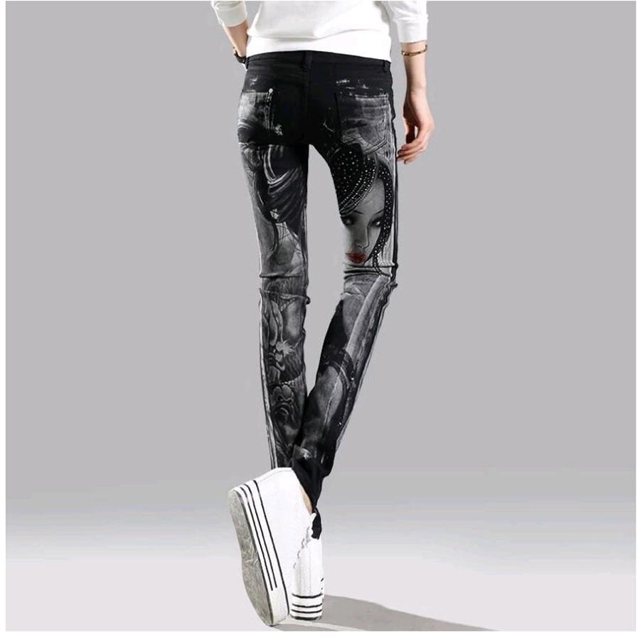 Elastic Jeans Woman Casual Black Pencil Jean Pants Girl Hot Drilling Skulls Jeans Women Skinny Long Slim Capris Female 26-31 Bottoms Women's Clothing