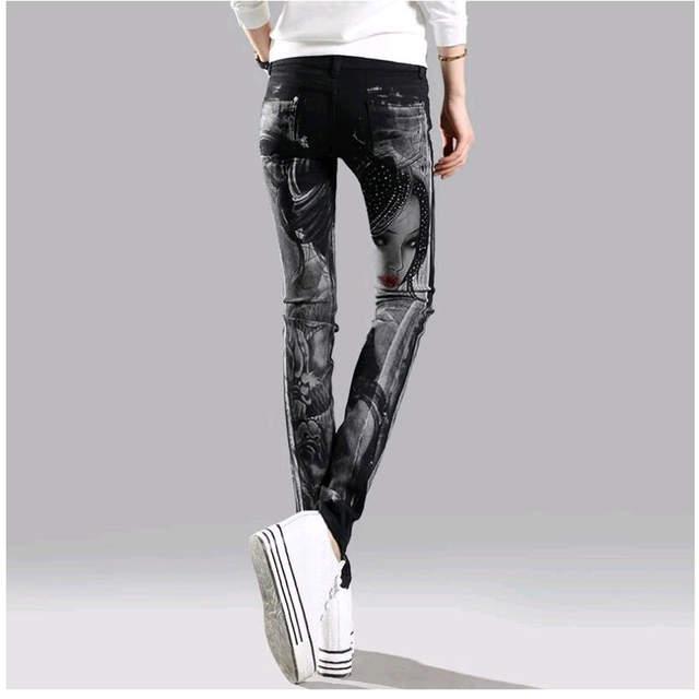 0f7b2ecb10 Schwarz Lange jeans frau Casual Bleistift hosen Mädchen Gewaschen strass  Hot bohren druck Dünne Lange frauen Jeans Capris Weibliche in Schwarz Lange  jeans ...