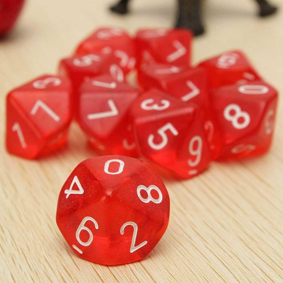 10-Taglia D10 Dieci Faccia Gemma Dice Die per Rpg Dungeons & Dragons Bordo di Giochi da Tavolo Trasparente