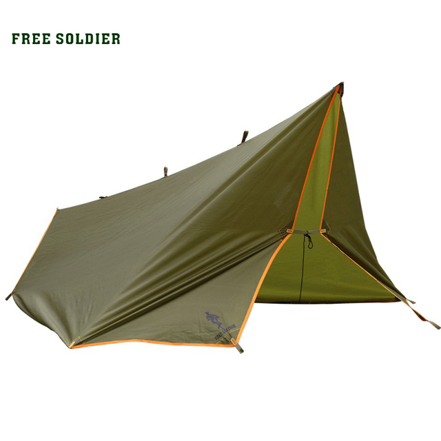 FREE SOLDIER Outdoor Awning Tarp Shelter For Camping Portable Shelter Sunshade Tent Tarp Waterproof Folding PU Waterproof
