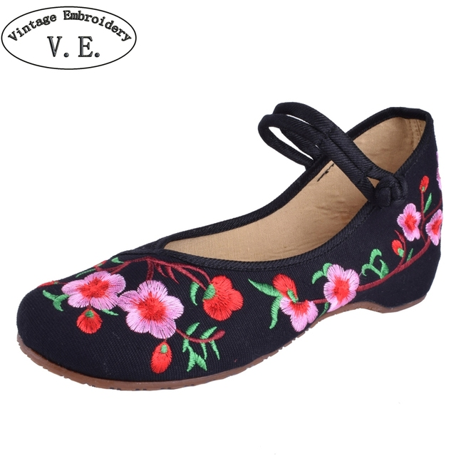 Women Embroidery Shoes Chinese Style Flats Mary Janes Casual Red+Black Blue Soft Sole Old Peking dance Cloth Shoes